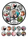 "7.5"" ROUND PERSONALISED OWN COLLAGE PHOTO PICTURE CAKE TOPPER & CUPCAKE TOPPERS"
