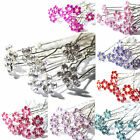 10Pcs Crystal Diamante Rhinestone Wedding Bridal Flower Hair Clip Hairpin Pin