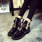 2017 New Women's Belt Buckle Cut Out Oxfords Ankle Boots Mid Chunky Heels Shoes