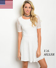 Women Casual Party Off White Short Sleeve All Over Lace Skater Dress S-L