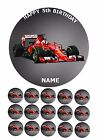 "FERRARI F1 RACING CAR  7.5"" ROUND EDIBLE BIRTHDAY CAKE TOPPER + CUPCAKE TOPPERS"