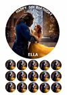 "BEAUTY & THE BEAST 7.5"" ROUND EDIBLE BIRTHDAY CAKE TOPPER CUPCAKE TOPPERS BELLA"