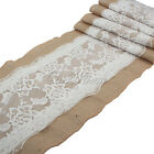 275x30cm Rose Flower Lace Rustic Hessian Burlap Table Runner Wedding Party Decor