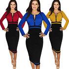Womens Vintage Colorblock Long Sleeve Work Wear Party Casual Sheath Pencil Dress