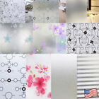 45x1000cm Frosted Cover Glass Window Floral Flower Sticker Film Office Door NEW