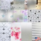 window film cover - 45x1000cm Frosted Cover Glass Window Floral Flower Sticker Film Office Door NEW
