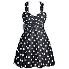 Womens Crossover One Piece Swimdress Black Polka Dots Skirted Swimsuit Boyshorts