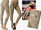 $215 7 For All Mankind Slim Cigarette Back Ankle Zip Cheetah Print Jeans 32