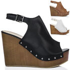 Womens Platform Croc Print Wedge Heel Sandals Shoes Sz 3-8