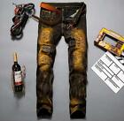 New sosoo Retro Patch Personal Tide Men's Cave Jeans Fashion Trends  men's pants