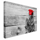 Red Rose On Grey Wood Canvas Art High Quality Great Value