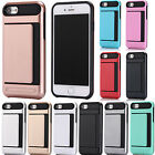 Shockproof Slim Hybrid Card Holder Armor Hard Back Phone Case For iPhone Samsung