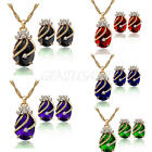 Luxury Gold Plated Lady Rhinestone Crystal Pendant Necklace Earrings Jewelry Set