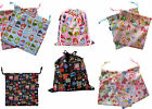 Kids Children's Small Drawstring Water Resistant Wash Bag Owl Robots Butterfly