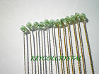 12 X 4mm GLASS CRYSTAL WIRE SPRAY STEMS IN PALE GREEN AB ON GOLD OR SILVER WIRE
