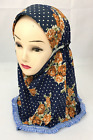New Print Child Kid Girls Muslim Lace Hijab Islamic Scarf Arab Headwear 1-7Years