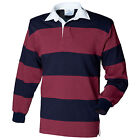 Front Row Sewn stripe long sleeve rugby shirt (Small - XX-Large)(4 Colours)