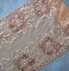 """3 - 3.8 Yards 8.5"""" Wide Stretch Beige Lace with Purplish Red Flower 908"""