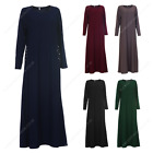 Womens Ladies Long Full Beaded Pocket Abaya Shirt Dress  Maxi Kaftan Casual Wear