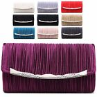 Ladies Designer Pleated Envelope Style Clutch Evening Bridal Party Purse M06671