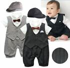 Baby Boy Wedding Christening Tuxedo Suit Outfit Romper Clothes+HAT Set 0-18M
