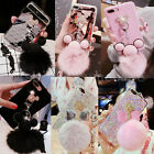 3D Cute Luxury Mickey Mouse Furry Fuzzy Plush Ball Strap Soft Phone Case Cover
