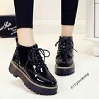 Chic Womens Lace Up Patent Leather Round Toe Platform Casual Shoes Oxfords Size