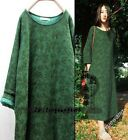 Chic Womens Long Dress Gown Caftan Embroider Pocket Leisure Dots Cotton Linen SZ