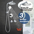 "Gooseneck Wall Arm 8/10/12"" Rainfall Twin Shower Head Mixer Twin Tap Bath Set"