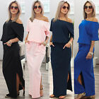 SEXY WOMENS SHORT SLEEVE LOOSE COCKTAIL LADIES SUMMER PARTY LONG MAXI DRESS 6-16