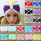 Fa Fashion Women Lace Wide Stretch Sport Yoga Turban Hair Band Headband Headwrap