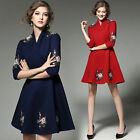Elegant Occident Womens 3/4 Sleeve High-end V-Neck Embroidery Mid Dress New