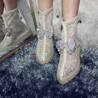 Womens Bowknot Rhinestones Lace Mid Calf Boots Mesh Breathable Shoes Sandals Zip