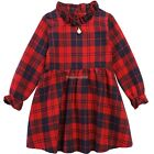 New Girls Fashion Long Sleeve Back Buttons With Faux Pearl Decor Plaid ED01