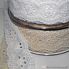 Lace cotton ribbon with flowers design 38mm 2 metres white or ecru ribbon