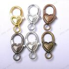 Gold Silver Plated Bronze Copper & Twill & Charms Heart Lobster Clasps