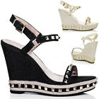 Womens Platform Studded Wedge Heel Barely There Espadrille Denim Sandals Pumps S