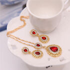 Women Wedding Jewelry Set Crystal Rhinestone Gold Plated Pendant Necklace Earrin
