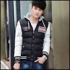 Mens Winter Detachable Hooded Slim Fit Zipper Short Thicken Padded Coats Jackets