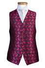 MENS BRIGHT PINK BLACK PAISLEY SWIRL WEDDING DRESS PARTY PROM CRUISE WAISTCOAT