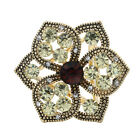 Women Gold Plated Three Circles Crystal Flower Shawl Scarves Buckle Clips