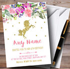 Floral Gold Unicorn Childrens Birthday Party Invitations