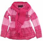 Dollhouse Little Girls Bow Pointelle Knit Ruffle Cardigan Sweater with Scarf