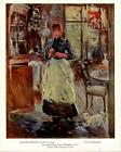 "Berthe Morisot: ""In The Dining Room""-Woman/Dog-Painting- Vtg Bookplate Art Print"