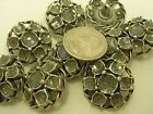 "New Lot of Antique Silver Metal Buttons as a Flower w/ Glitter 1 1/16"" &7/8 (SI)"