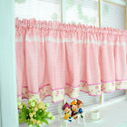 Village pink grid rose lace cotton block Home Kitchen window Cafe Curtain