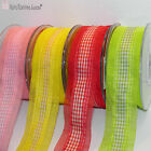 Gauze Gingham Ribbon Wired Edge 40 mm wide Sewing Costume Crafts DIY 4 Colours