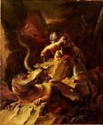 Classic Italian Mythological Art Print: Jason Charming the Dragon by Rosa