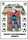 """FOOTBALL SHIRT OWN PHOTO A4 CAKE TOPPER WITH FOOTBALL CREST 11""""X8"""" PERSONALISED"""