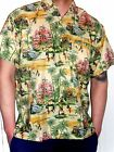 MENS RARE CREAM PINK CARS PALMTREE CARIBBEAN  CULTURE HAWAIIAN SHIRT SZ S - 3XL